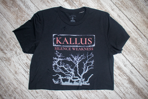 Silence Weakness Hand Cropped and Distressed Tee - Black