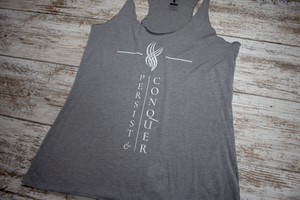 Persist and Conquer Racerback Tank - Grey