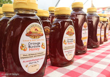 Locally produced raw Florida Orange Honey comes in 2 sizes - 1lb and 2lb squeeze bottles.