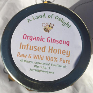 Organic Ginseng infused raw and wild honey - a real Gold Rush!