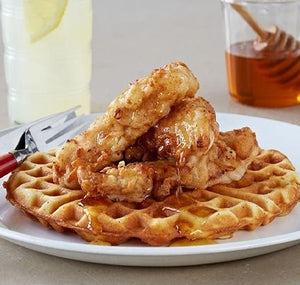 Better than syrup! Raw local honey is great on chicken and waffles!
