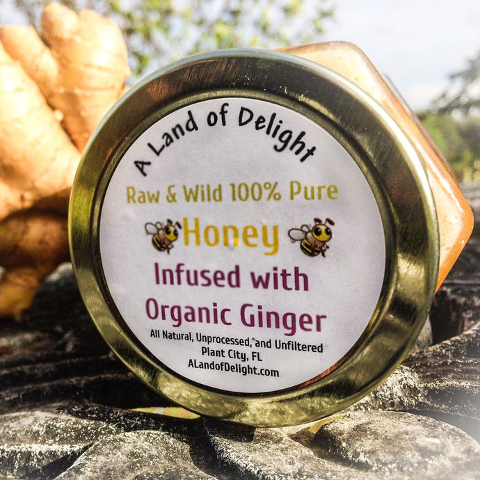 Raw and Wild 100% Pure Local Honey infused with Organic Ginger.