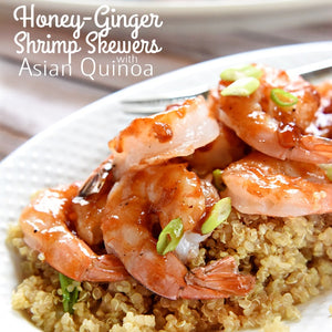 Ginger Honey barbecue sauce on grilled shrimp is amazing!