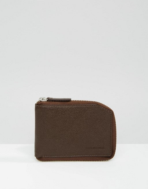 ROYAL REPUBLIQ FUZE LEATHER ZIP WALLET BROWN