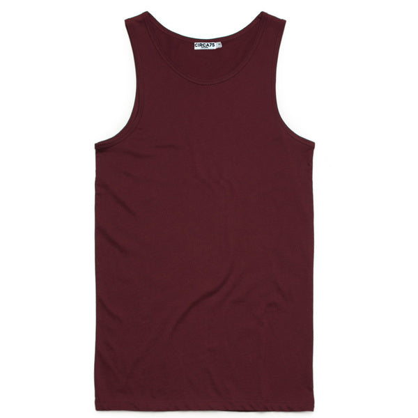 CIRCA75 MENS MUSCLE FIT SINGLET BURGUNDY