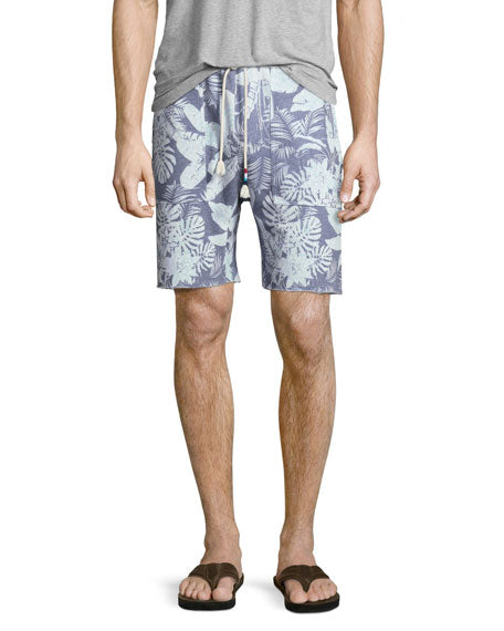 SOL ANGELES MEN'S MYSTIQUE TROPICAL PRINT SADDLE CUTOFF KNIT SHORTS