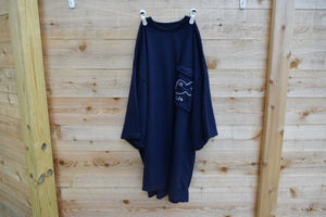 Navy Blue Big Pocket Tee