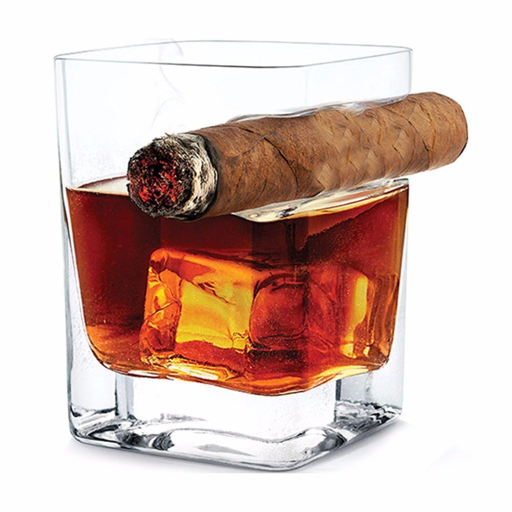 Whiskey Glass with Cigar Groove