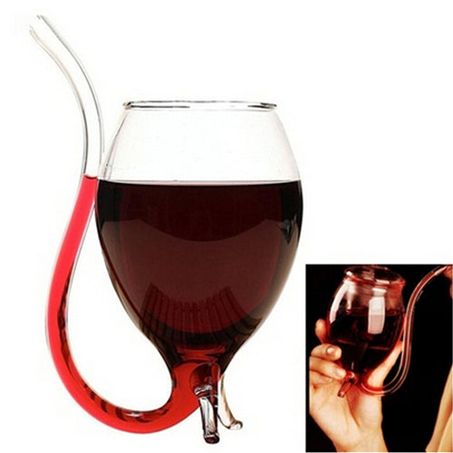 Red Wine Glass with built in straw