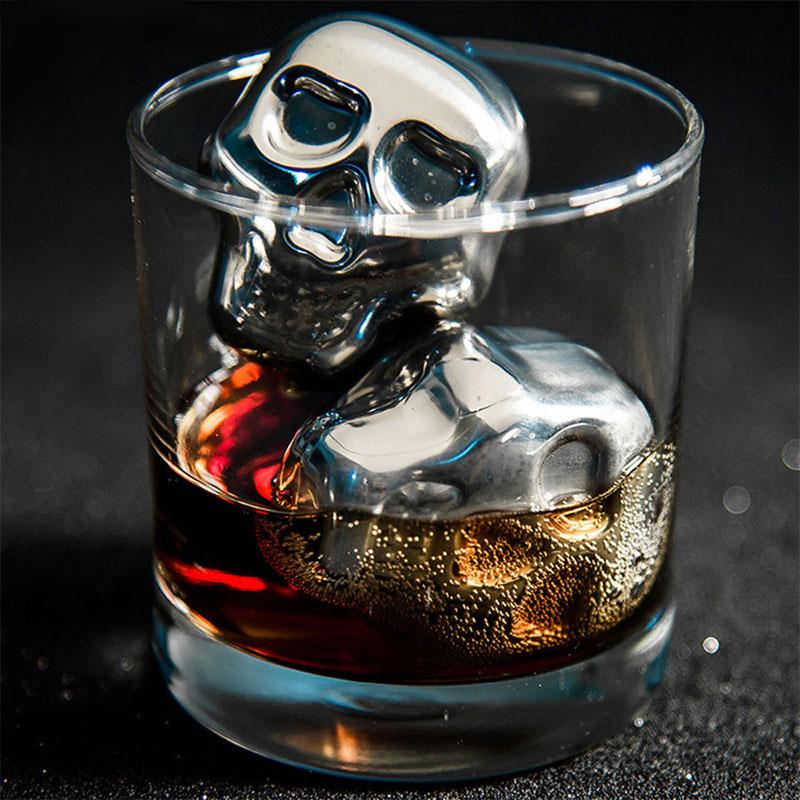 Skull Whiskey Stones, Stainless Steel