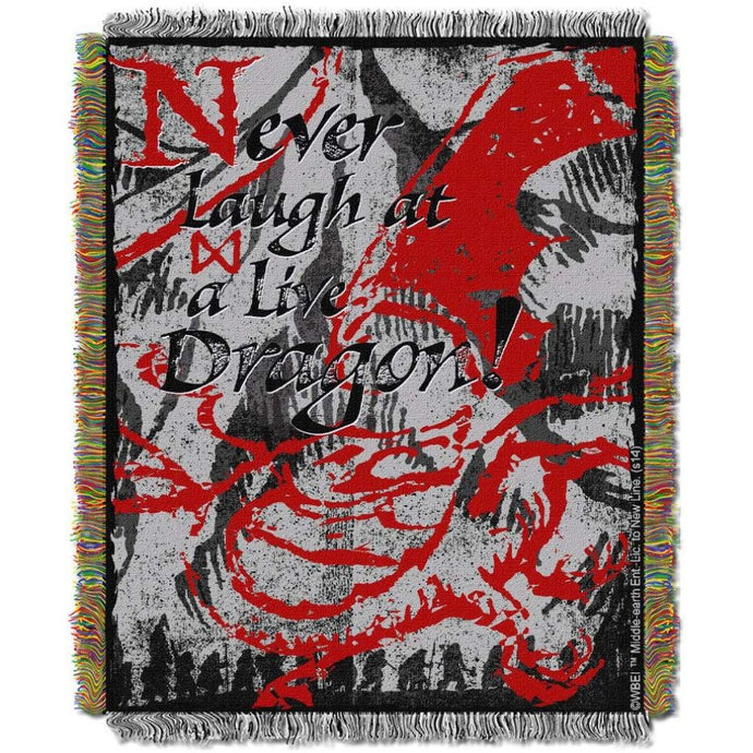 The Hobbit: The Desolation of Smaug Never Laugh at a Live Dragon Tapestry Throw Blanket