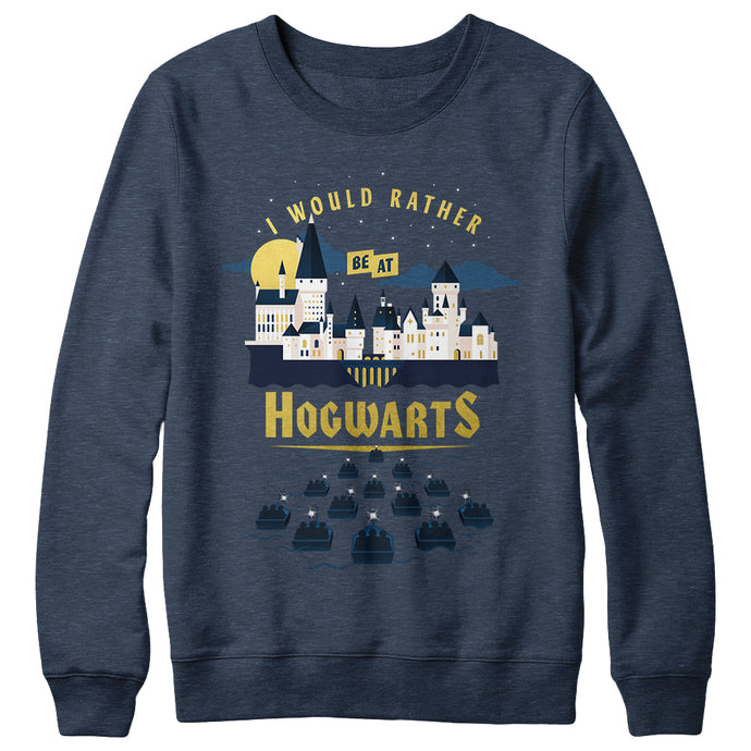I Would Rather Be at Hogwarts Gold Foil Navy Crewneck