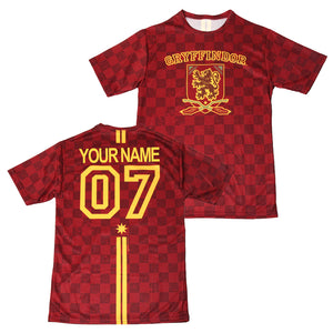 Exclusive Personalized Gryffindor Crest Adult Quidditch Jersey Style T-Shirt from Harry Potter