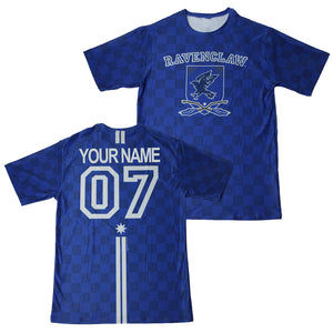 Exclusive Personalized Ravenclaw Crest Adult Quidditch Jersey Style T-Shirt from Harry Potter