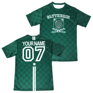 9d4add408 Exclusive Personalized Slytherin Crest Adult Quidditch Jersey Style T-Shirt  from Harry Potter ...