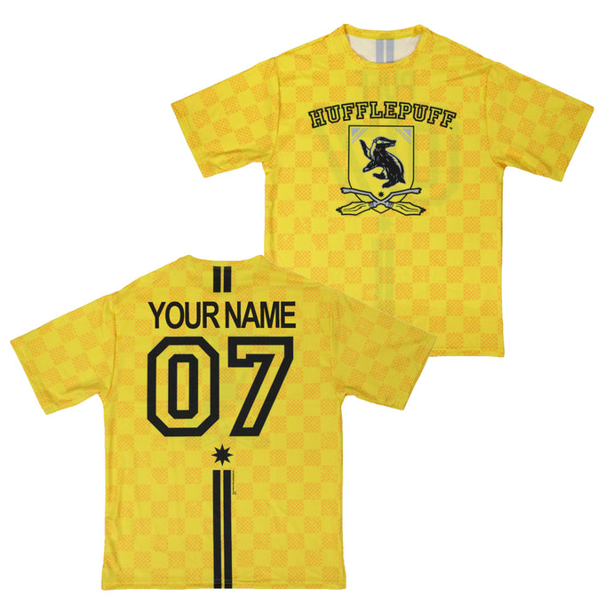 Exclusive Personalized Hufflepuff Crest Youth Quidditch Jersey Style T-Shirt from Harry Potter