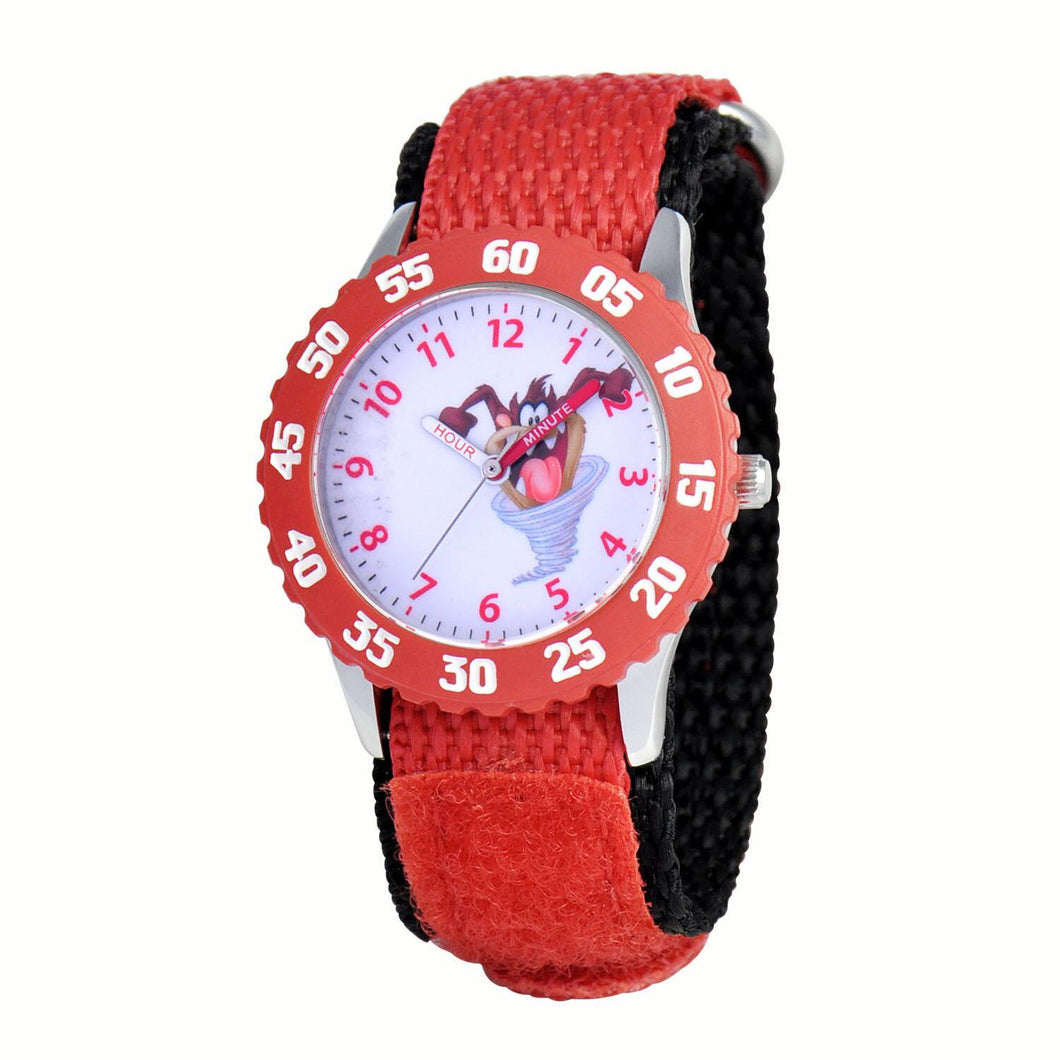 Taz Time Teacher Watch with Rotating Bezel and Nylon Strap for Kids