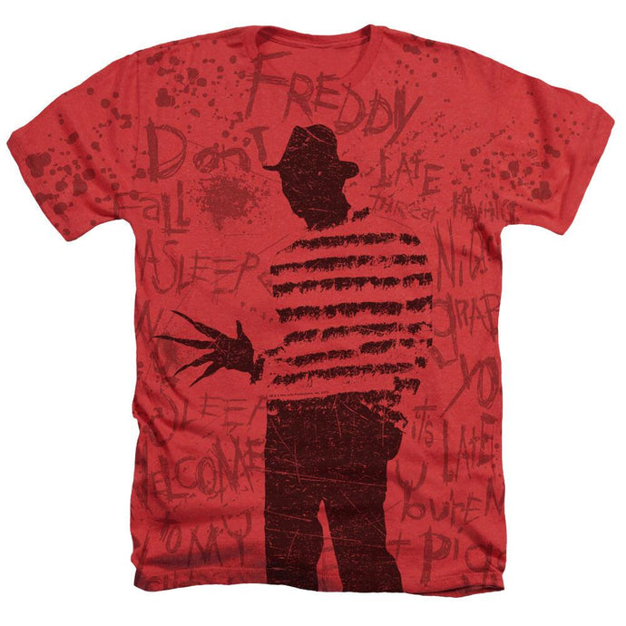 A Nightmare on Elm Street Burnt Silhouette Adult Red T-Shirt