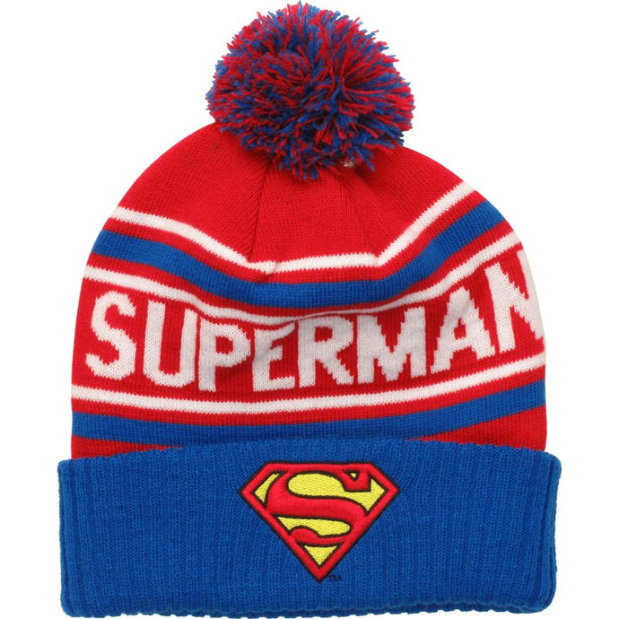 Superman Red, Gray & Blue Pom-Pom Knit Beanie