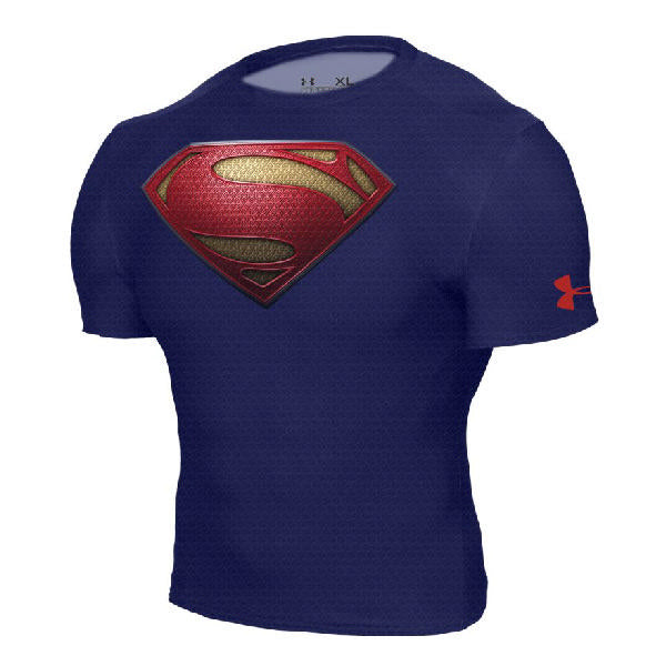 Man of Steel Shield Alter Ego Compression Midnight Navy Short Sleeve Shirt  by Under Armour - 4a39f565b50