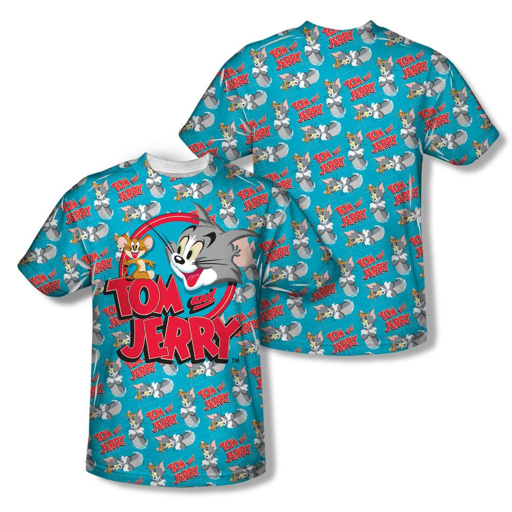Tom and Jerry Classic  Logo Sublimation Print Adult T-shirt - Large