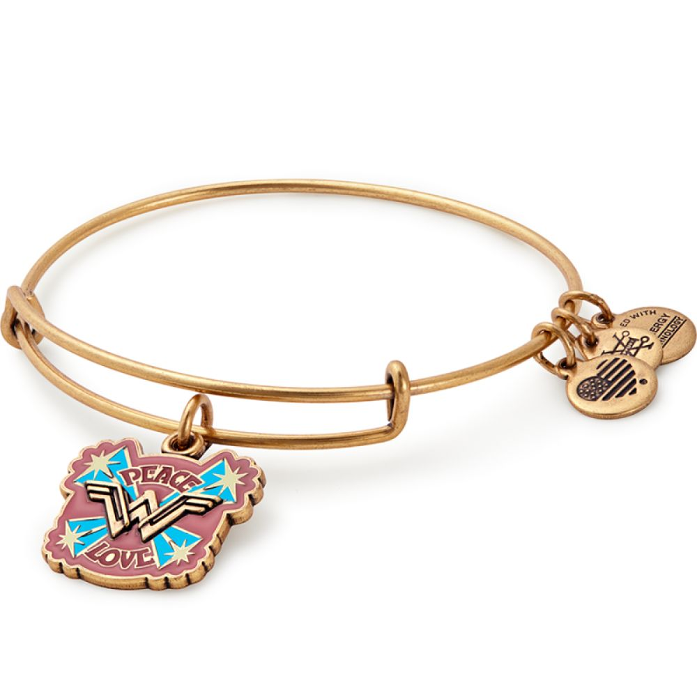3347071a5ed058 ALEX AND ANI Wonder Woman Movie Peace Love Charm Bangle – WB Shop