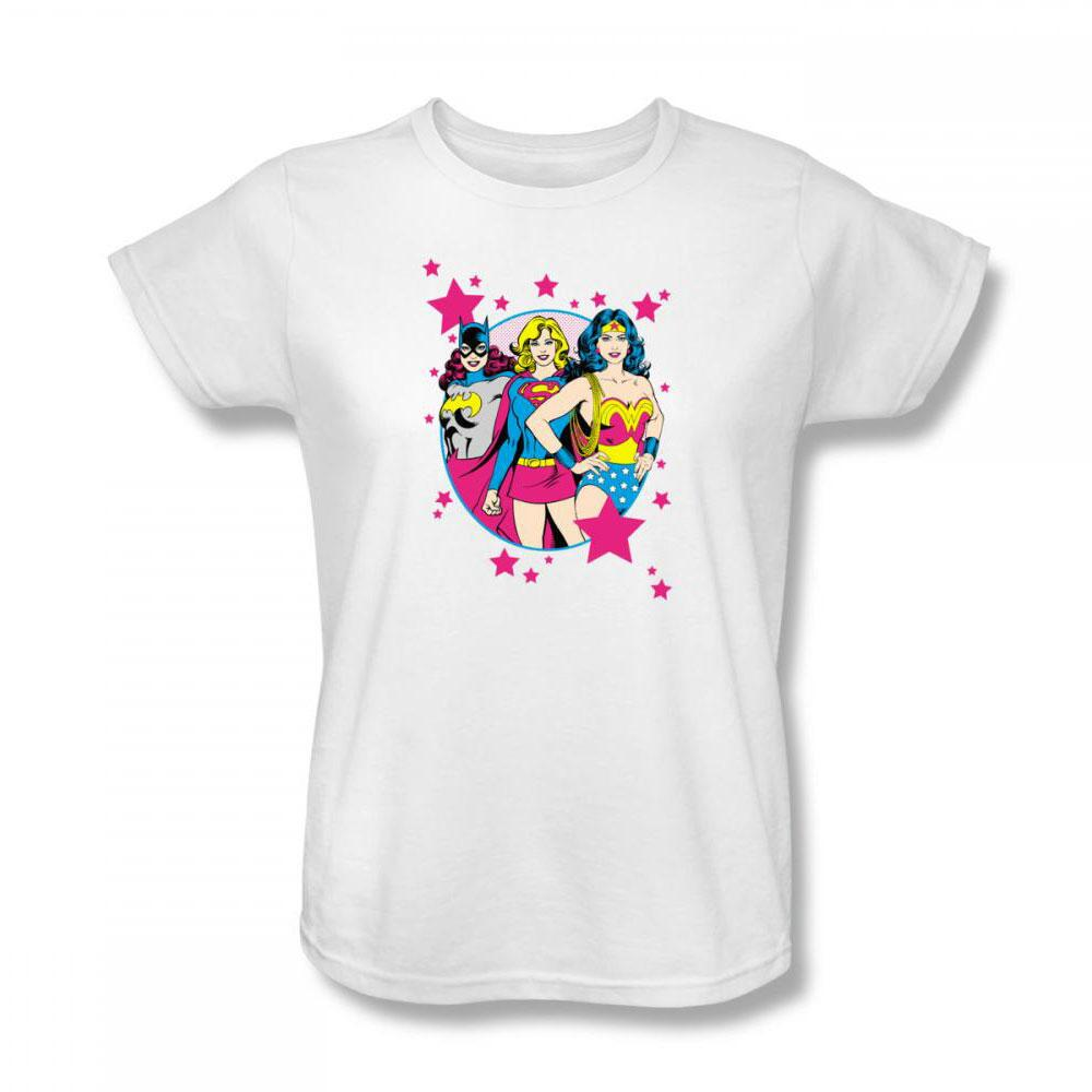Wonder Woman, Supergirl and Batgirl Stars Women's Relaxed Fit T-Shirt - X-Large