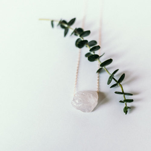 Raw white quartz necklace with gold chain