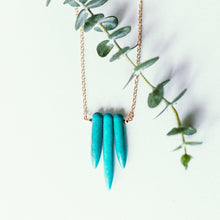 Turquoise necklace with matte gold chain