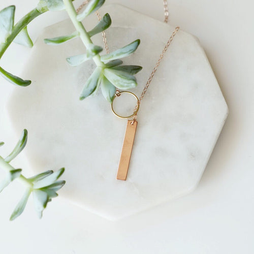 Vertical Rose gold bar necklace