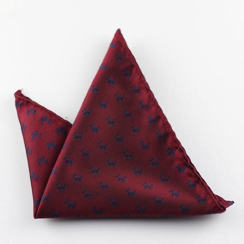 GUSLESON - Maroon Patterned Pocket Square