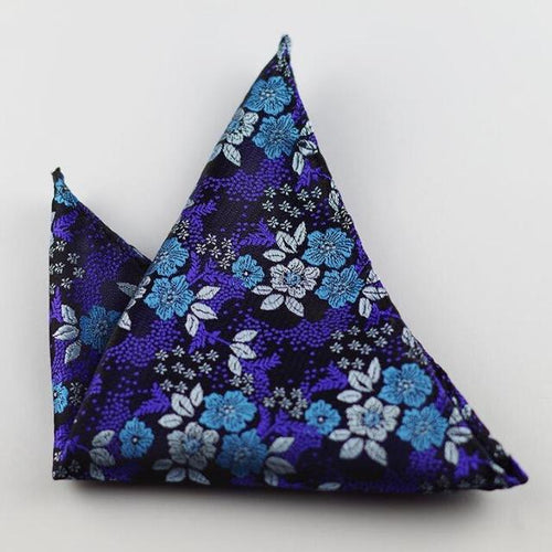 GUSLESON - Navy Floral Pocket Square