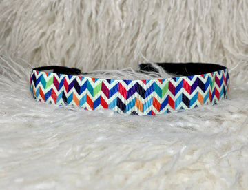 Bold colored, chevron patterned, adjustable no slip headband.