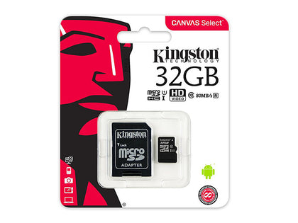 Kingston Canvas Select 32GB microSDHC Class 10 UHS-I 80MB/s SDCS/32GBCR,- TechSpirit Inc., Brampton