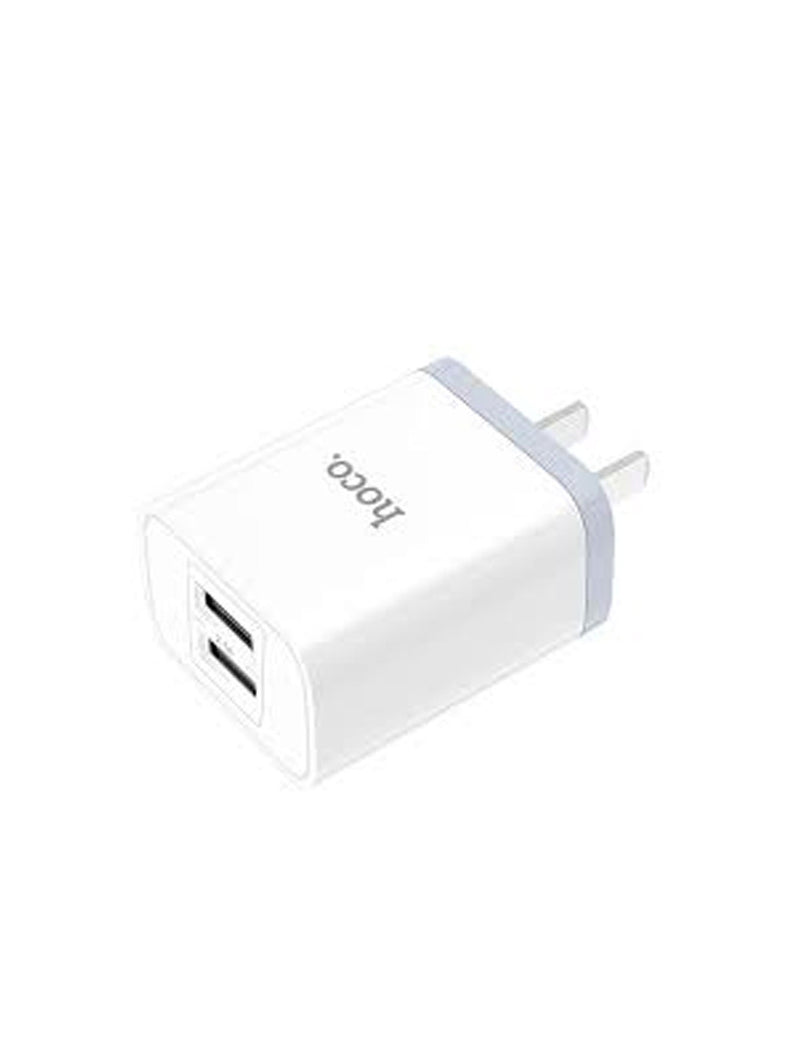 Hoco Luster Sharp 2 Port Wall Charger Set with USB Type C Cable  (C50)