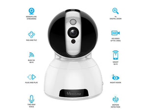 Vimtag P2P AI Smart Wireless Camera, 1080P Resolution, 2 Way Talk, Support 128GB MicroSD, and Cloud Storage,- TechSpirit Inc.