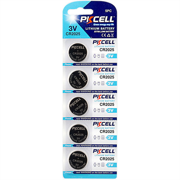 Pkcell 3.0V Lithium manganese button cell CR2025 (5- pack),- TechSpirit Inc., Brampton