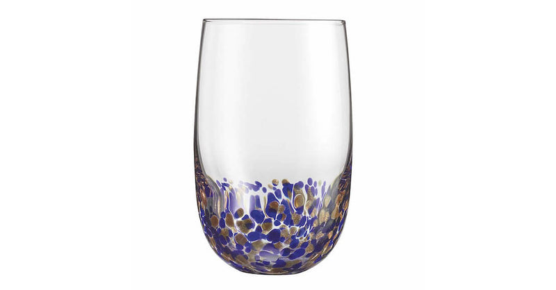 CUISINART CG-S4HBBG  Blue-Gold Crystal Highball Glasses, Set of 4,- TechSpirit Inc., Brampton