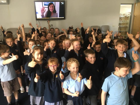 Author Simone Kain with Timboon P-12 children during an Author Skype session