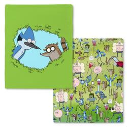 Regular Show Mordecai, Rigby and Cast Fleece Throw Blanket