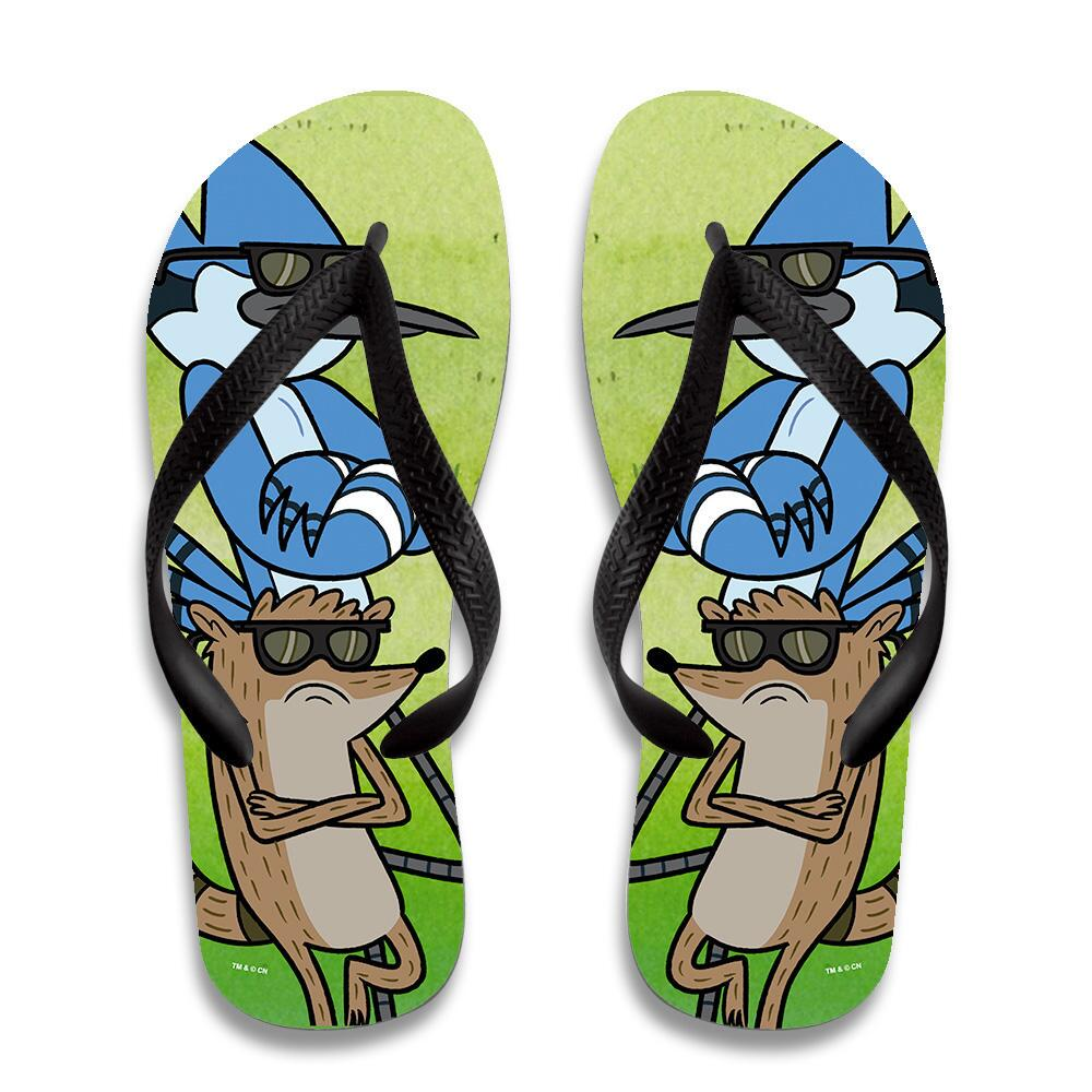 14cceb75666e Regular Show Mordecai and Rigby with Arms Crossed Flip Flops ...