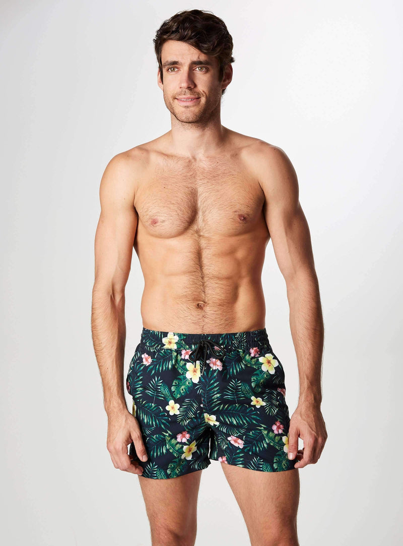 Jungle Floor Printed Swim Shorts, Swim Trunks-7DIAMONDS