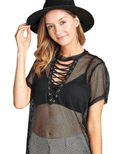 Laced grommet front plunging neckline top