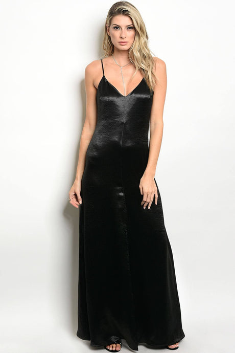 sleeveless satin floor length maxi dress with a v neckline