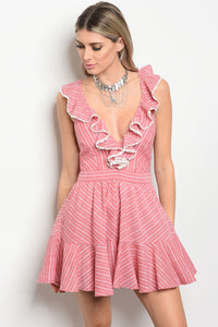sleeveless striped fit and flare dress that features ruffle details and a v neckline