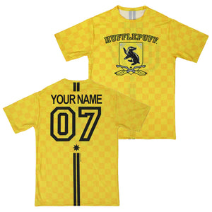 315785c89 Exclusive Personalized Hufflepuff Crest Adult Quidditch Jersey Style T-Shirt  from Harry Potter