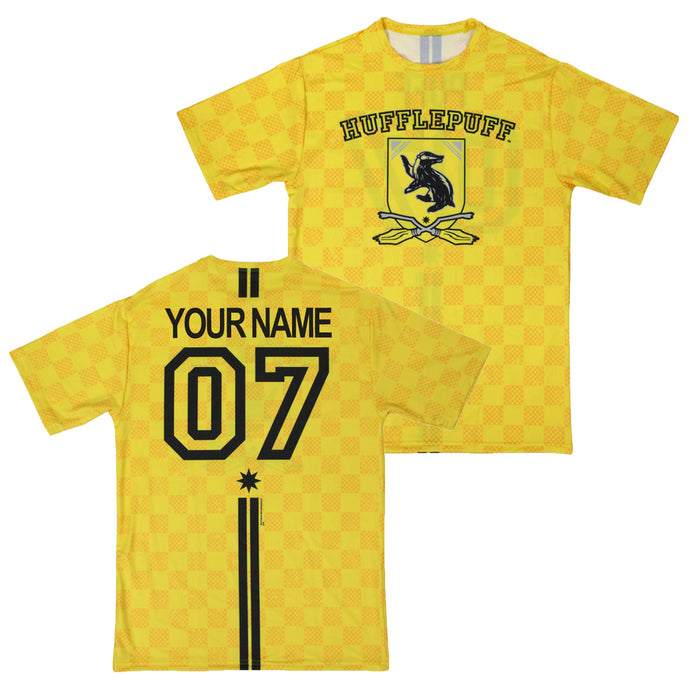 Exclusive Personalized Hufflepuff Crest Adult Quidditch Jersey Style T-Shirt from Harry Potter