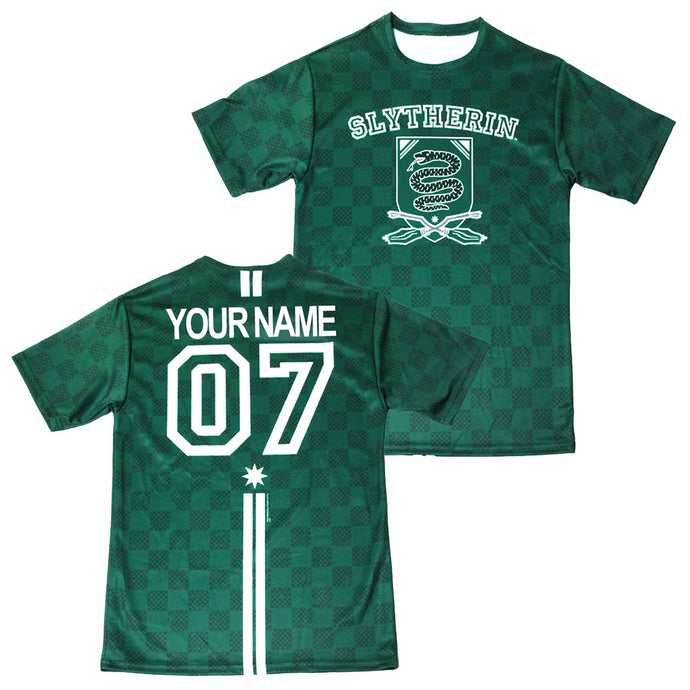 d01380465 Exclusive Personalized Slytherin Crest Adult Quidditch Jersey Style T-Shirt  from Harry Potter