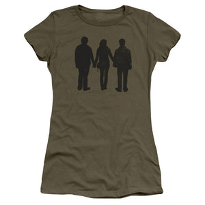 Harry, Ron and Hermione Silhouettes Juniors Military Green T-Shirt