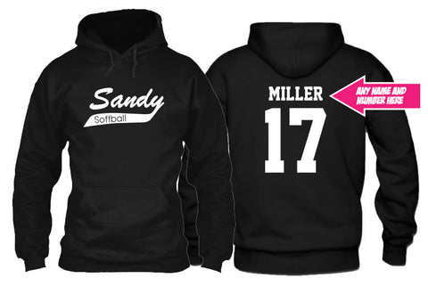 Sandy Softball Hoodie with Custom Name and Number